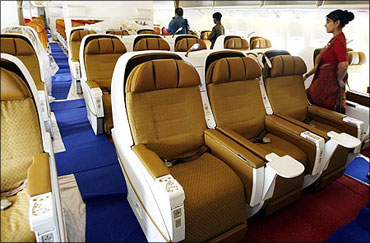 Inside an Air India Boeing.