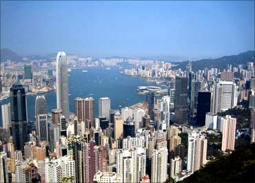 The Hong Kong skyline.