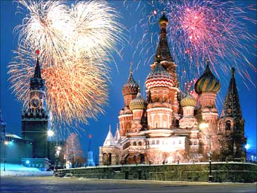 Fireworks at Red Square, Moscow.