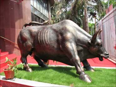 The bull in front of the Bombay Stock Exchange.