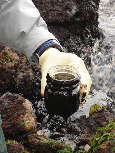 Oil slick pollutes.