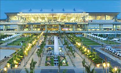 Hyderabad's Rajiv Gandhi International Airport at night.