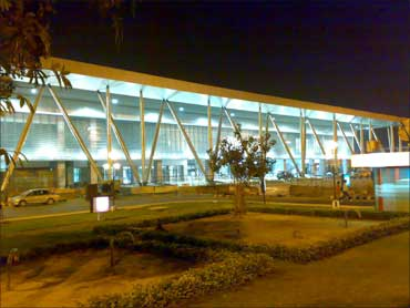 The airport at night.