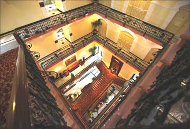 The inside view of the heritage wing of the Taj Palace Hotel.