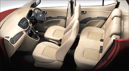 Interior view of Hyundai i10.