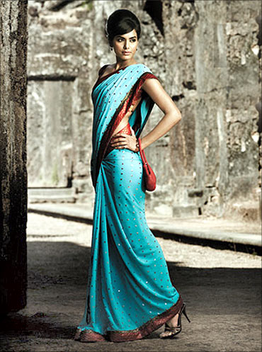 A model flaunts a Lifestyle saree.