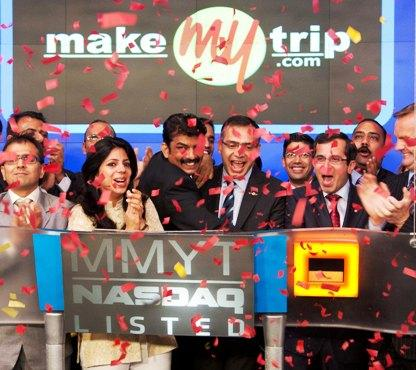 MakeMyTrip celebrates after listing on Nasdaq.