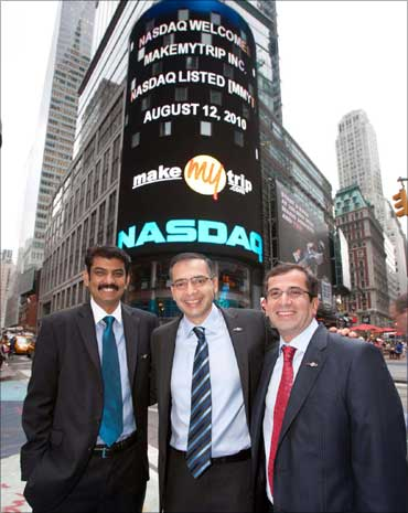 (L-R) Rajesh Magow, co-founder/CFO, Deep Kalra, co-founder/CEO, Keyur Joshi, co-founder/COO.