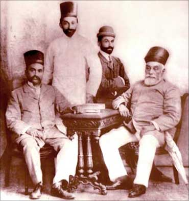 J N Tata (R to L); Sir Dorabji Tata, Sir Ratan; and R D Tata, father of JRD Tata.