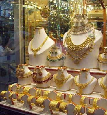 Gold jewellery on display.