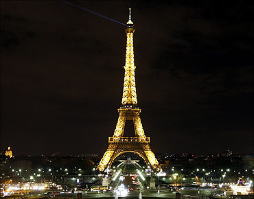The Eiffel Tower before Earth Hour in Paris.