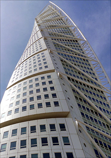 The 54-storied Turning Torso tower.