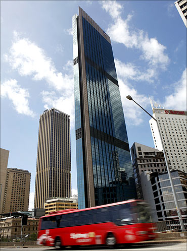 AXA Asia Pacific Holdings (centre) and the AMP Ltd buildings in central Sydney.