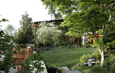 The landscaped garden at the house.