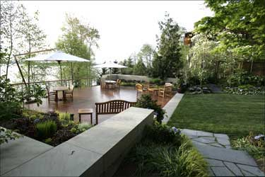 The outside deck.