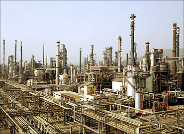 A view of Bharat Petroleum Corporation refinery