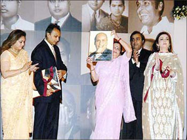 (L to R) Tina Ambani, Anil, Kokilaben, Mukesh and Nita Ambani at a function in Mumbai.