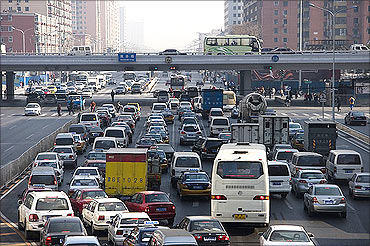 Traffic congestion in Beijing.