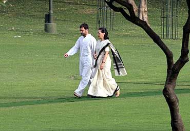Sonia Gandhi, with son Rahul.