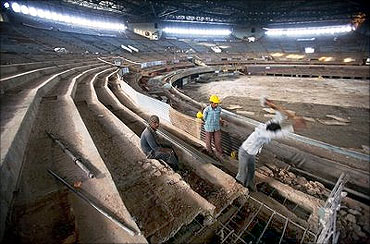 Work at the Indira Gandhi stadium.