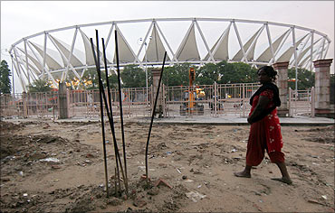 Jawaharlal Nehru Stadium under construction for the 2010 Commonwealth Games.