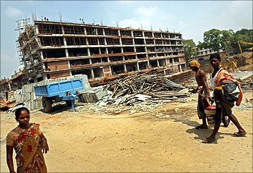 The construction site of Shivaji stadium in New Delhi.