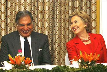 Ratan Tata with US Secretary of State Hillary Clinton.