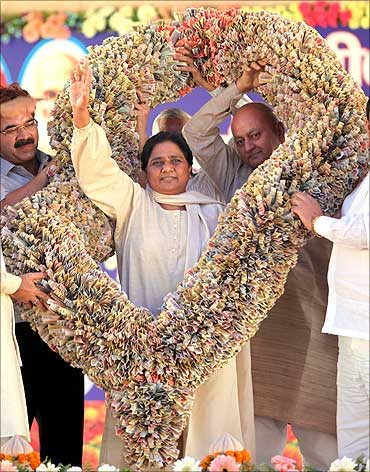 Uttar Pradesh Chief Minister Mayawati with a garland of currency notes.