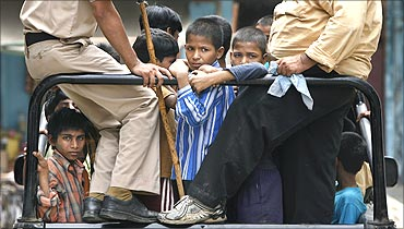 Child labourers rescued by the police and NGOs in New Delhi.