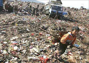 Garbage collectors look for recyclable waste at a garbage dump site in Kunming.