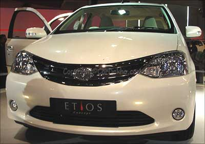 Toyota Etios full front view.