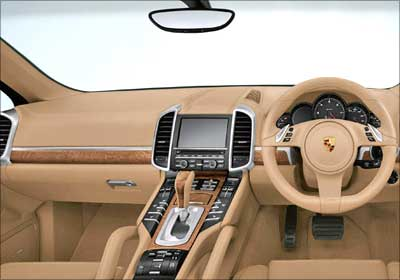 Interior view of Porsche Cayenne.