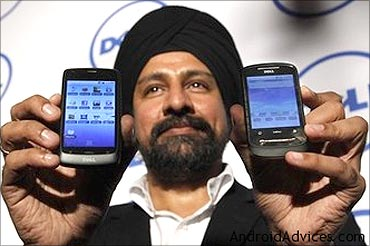Mahesh Bhalla, general manager, Dell India, with the new XCD phones.