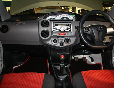 The cockpit inspired interiros of the Etios. The Speedometer console is in the centre so as to minimise loss of attention from the windscreen while driving.