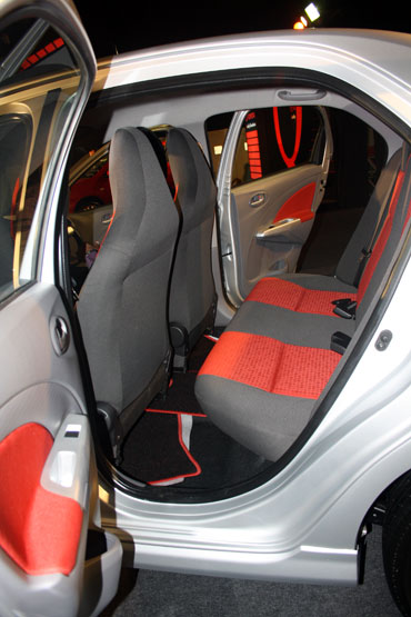 The spacious rear seat of the Etios with a Flat flooring at the centreline.
