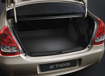 The spacious 595 ltr boot of the Etios.