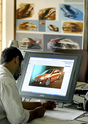 Designers work at the Renault India studio in Mumbai