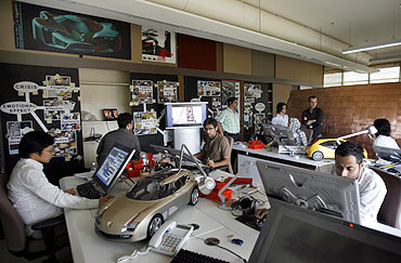 Designers work at the Renault India studio in Mumbai.