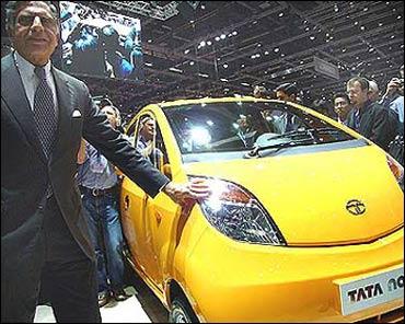 Ratan Tata with the Nano.