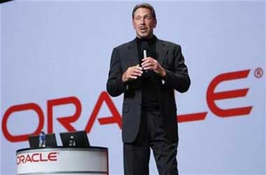 Oracle CEO Larry Ellison talks during his keynote address.