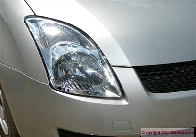 Front headlight of the car.