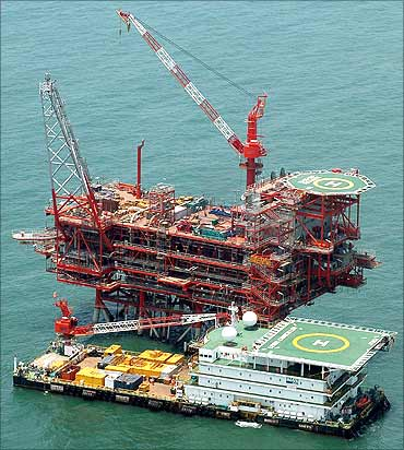 Reliance Industries KG-D6's control and raiser platform off the Bay of Bengal.