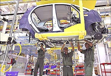 Tata Nano manufactured at the Sanand plant.