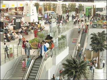 Travellers at the New Delhi airport's new terminal.