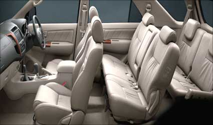 Interior view of Toyota Fortuner.