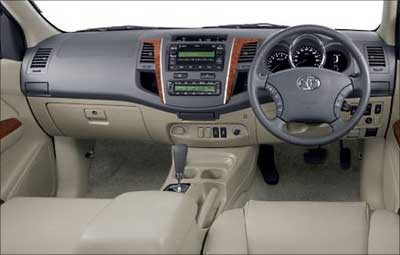Interior of Toyota Fortuner.