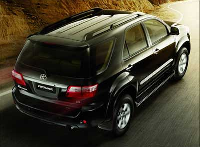 Rear view of Toyota Fortuner.