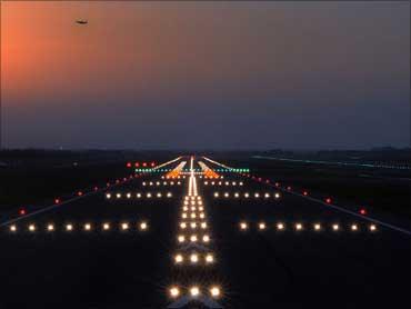 The runway at night.