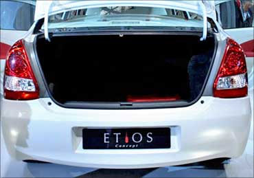 The boot of Toyota Etios.
