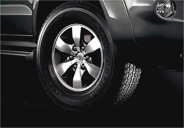 The front wheel of Toyota Fortuner.
